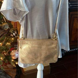 Fossil Crossbody Gold Shimmer Handbag